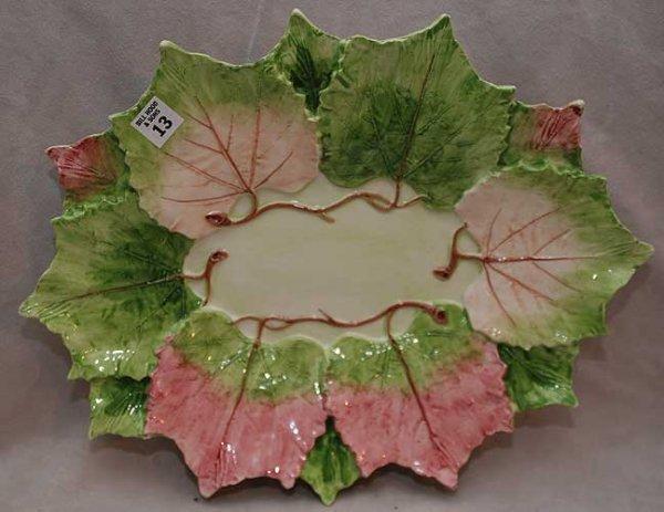 """13: Oversized leaf design platter, 17""""L x 13 1/2""""w"""