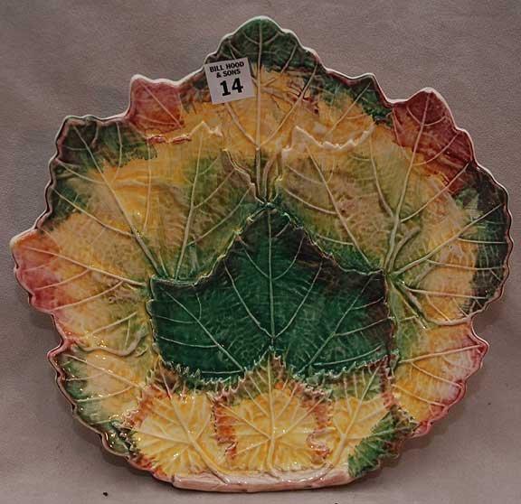 "14: Majolica maple leaf design platter, 11""L x 11 1/2""w"