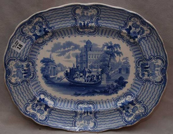 "18: Antique blue and white transfer ware design ""Bologn"
