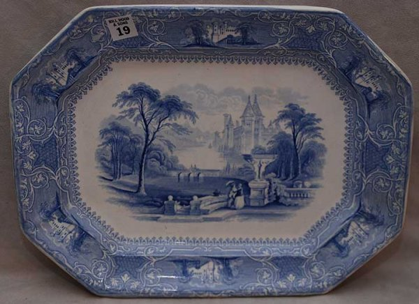 "19: Antique blue and white transfer ware platter ""Lozer"
