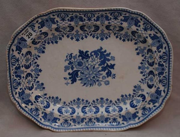 "20: Antique ""Spode"" blue and white platter with leaf an"