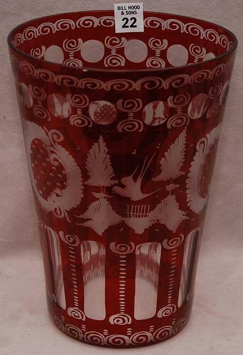 "22: Large bohemian glass, ruby cut vase, 10""dia x 7 1/4"