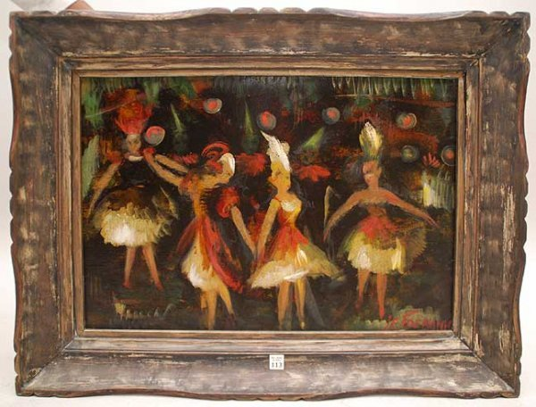 113: Janis F. Tidemanis LATVIAN Ballerinas oil Painting