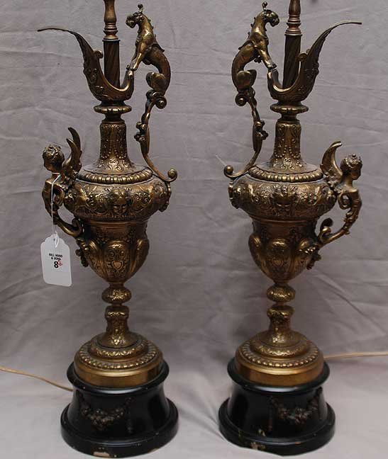 8: Pair of brass urns converted into lamps with mytholo