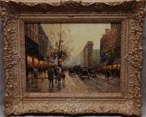 36: Paul Renard, French, oil on canvas, Paris street sc