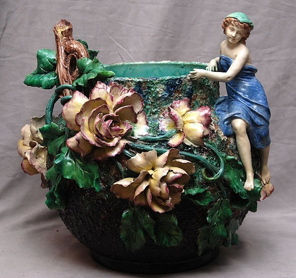 019A: Very large Majolica centerpiece with lady and flo