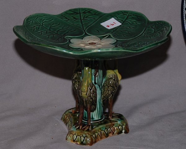 """019B: Majolica compote with 3 bird support, 6 1/2""""h x"""