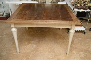 Country Table, Painted Paris Gray with Tapered Legs &