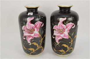 Pair Lamp Vase Form Bases, Drilled, Pink Tiger Lily on