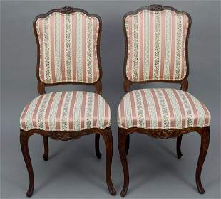 Pair French Carved Side Chair, Cabriole Legs with Rose