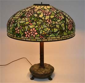 "22"" Tiffany Studios Dogwood Table Lamp. Shade contains"