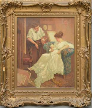 Antique Interior oil on Canvas Painting Mother holding