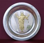 Sterling and 24 KT. Gold Overlay 1973 EASTER PLATE,