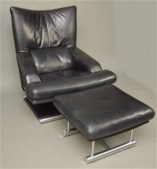 Black Leather Chair & Ottoman, Rolf Benz