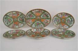SIX CHINESE FAMILLE ROSE MEDALLION PORCELAIN OVAL