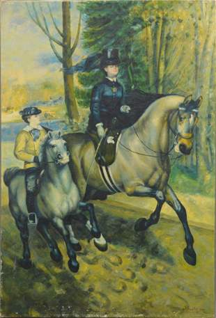 """P. Montoya oil painting on canvas, """"Riding Companions"""","""