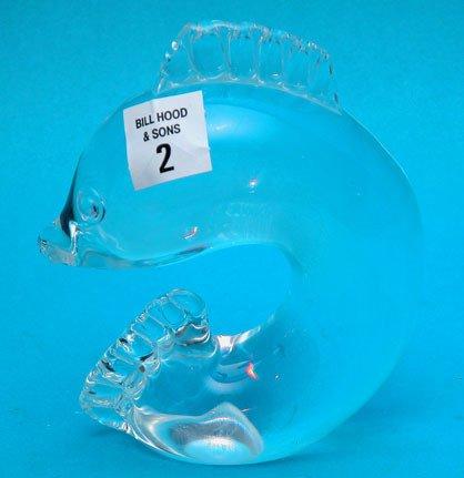 "2: Steuben dolphin, 6""h x 4 1/2""l"