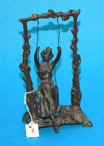 "5: Bronze girl on a swing, signed Moreau, 9 1/2""h x 5 1"