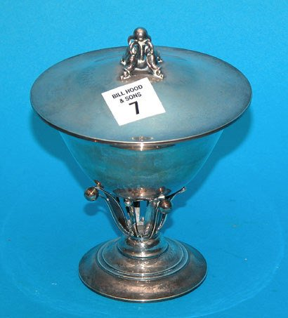 7: Georg Jensen Denmark hand hammered covered compote