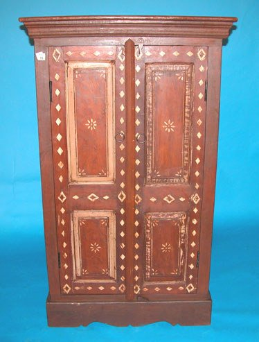 16: Double door cabinet with inlay diamond design and r