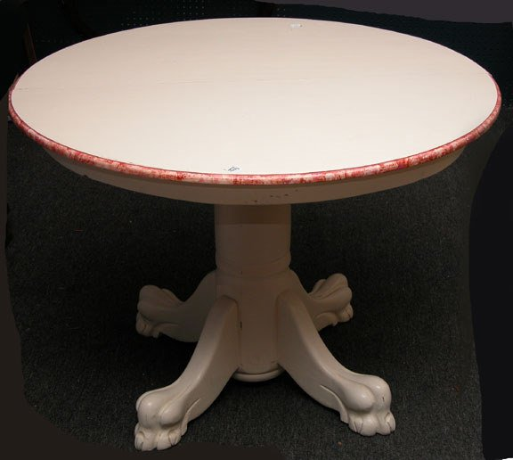 17: Custom painted round table with center pedestal, ma