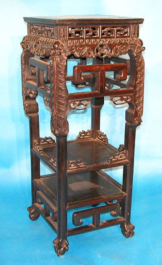 19: Chinese carved stand with 2 shelves and inset marbl