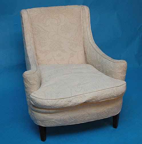 21: Pr. of white crewel upholstered armchairs