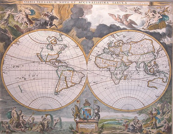 """270: 19th Century World Map Colored Engraving, 21"""" x 17"""