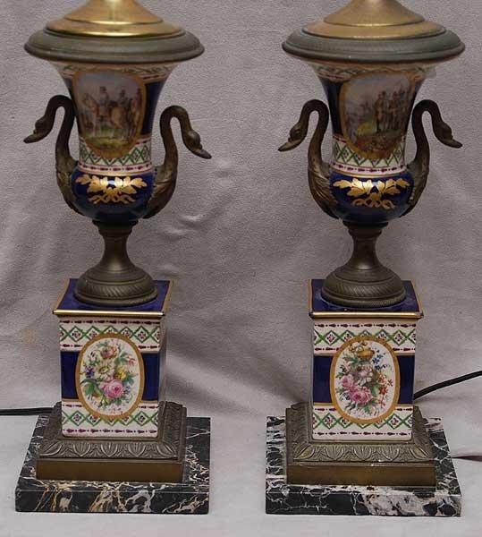 1: Pair porcelain urn form lamps each with militia land