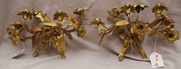 2: Pair of floral gilt metal 4 branch wall sconces with