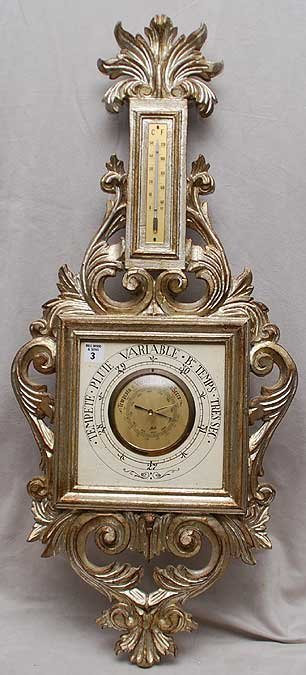 """3: Silvered finish rococo style wood barometer """"Tempete"""