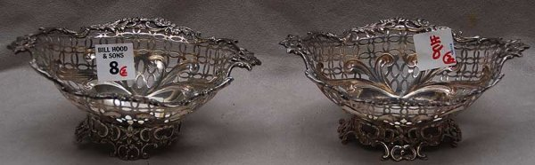 8: Pair of oval English silver reticulated footed nut d