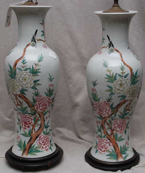 9: Pair of porcelain Oriental lamps, floral motif on at