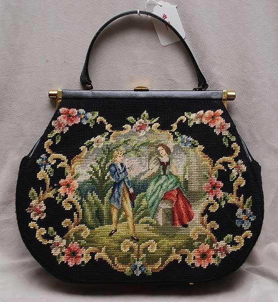 11: Needlepoint and pettipoint design oversized handbag