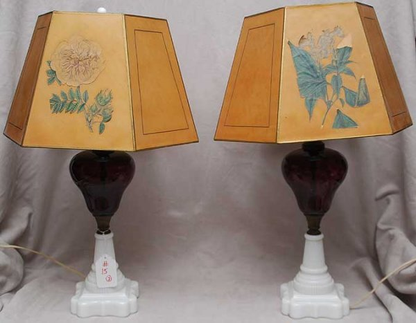 15: Pair of antique amethyst and white glass lamps with