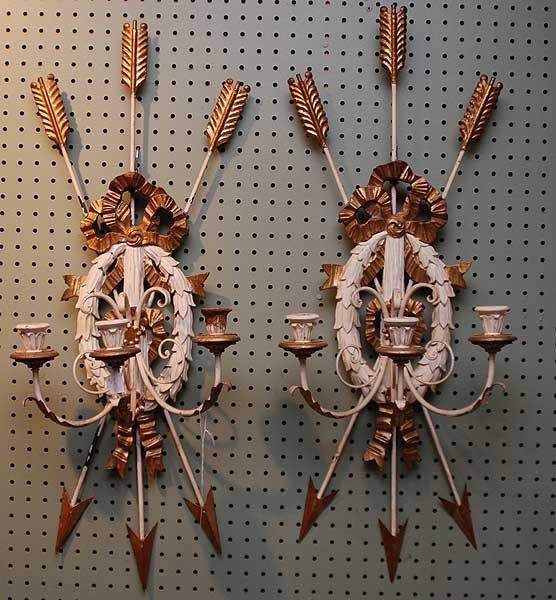 "16: Pair 3 branch ""trophy"" motif wall sconces, white"