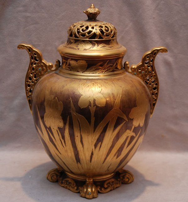 "17: American Belleek ""AC"" covered urn gilded and jewele"