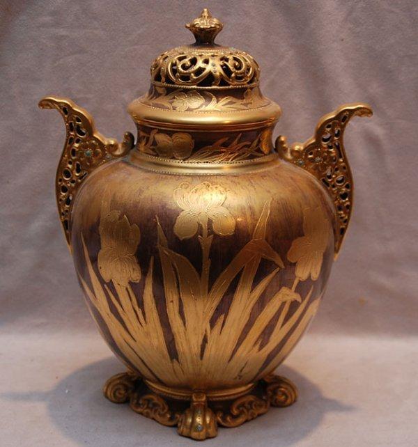 """17: American Belleek """"AC"""" covered urn gilded and jewele"""