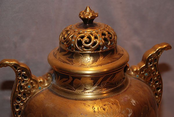 "17: American Belleek ""AC"" covered urn gilded and jewele - 2"