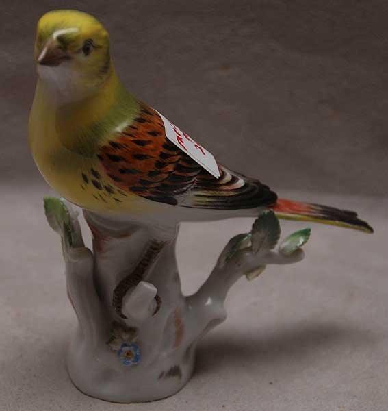 "20: Meissen porcelain bird, green head, 5""L x 5""h"