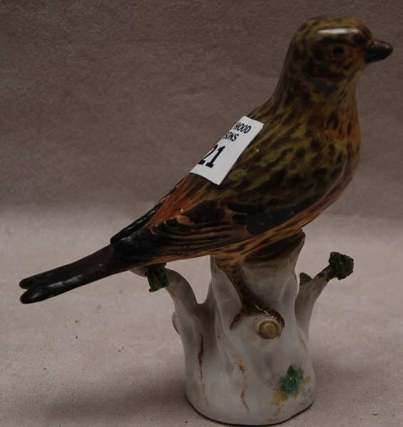 "21: Meissen porcelain bird, brownish speckled, 5 3/4""L"