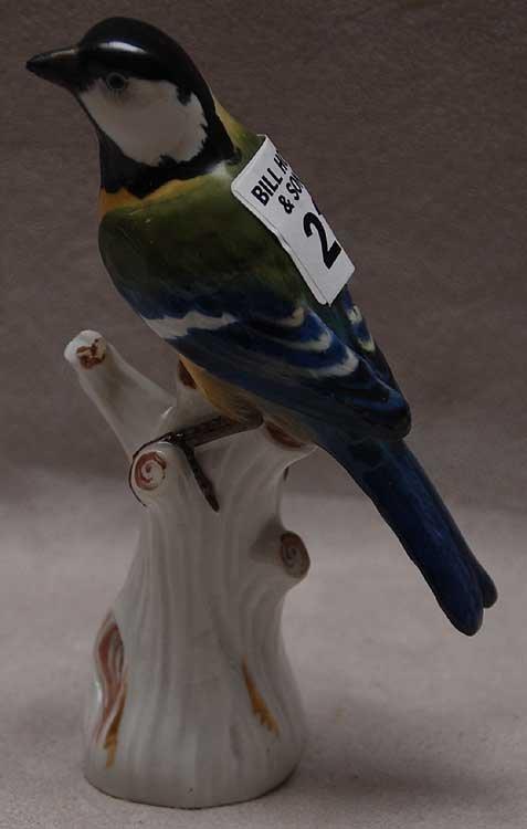 """22: Meissen porcelain bird, blue & green, 5 3/4""""L x 5""""h"""