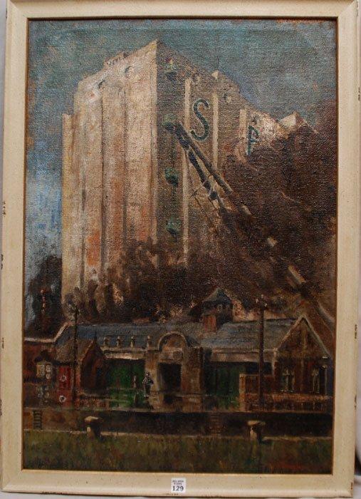 129: Aaron Douglas (AMERICAN, 1899-1979) oil on canvas,