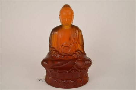 LALIQUE French Crystal 12 in. L/E Amber Buddha Statue.