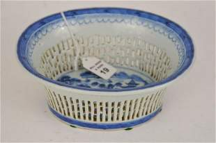 CHINESE PORCELAIN CANTON RETICULATED BASKET.