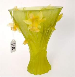 DAUM PATE DE VERRE GLASS VASE GREEN WITH YELLOW