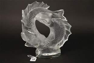LARGE LALIQUE CRYSTAL KOI FISH sculpture. Size: 11 x