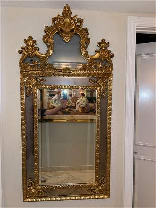 "Carved Gilt Wood Ornate Framed Mirror, 65""h x 32""w"