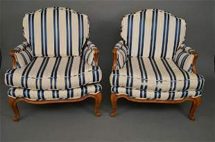 French Style Armchairs, Blue & White Stripe Upholstery