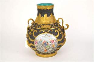 CHINESE PORCELAIN HU FORM VASE - with toe Famille Rose